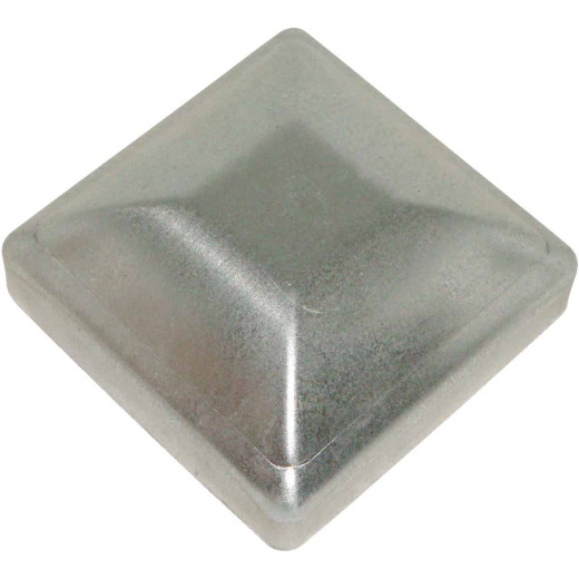 Hartford Standard 3-1/2 In. x 3-1/2 In. Galvanized Steel Press-On Silver Post Cap