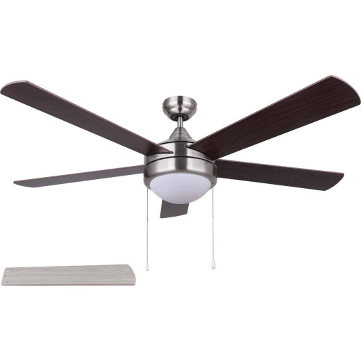 Home Impressions Preston 52 In. Brushed Nickel Ceiling Fan with Light Kit