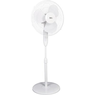 Best Comfort 16 In. 3-Speed Extends to 49 In. H. White Oscillating Pedestal Fan