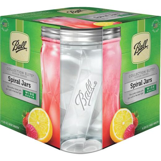 Ball Collection Elite 28 Oz. Wide Mouth Spiral Canning Jar (4-Count)