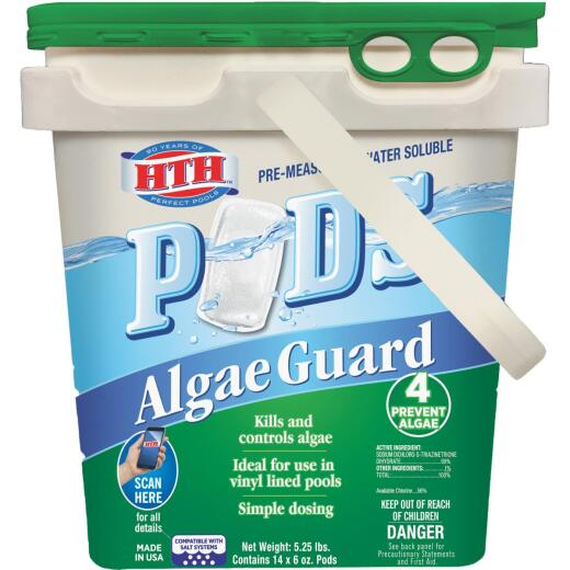 HTH 6 Oz. Pre-Measured Water Soluble Pods Algae Guard